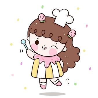Милая девушка-пекарь с кекс-костюмом