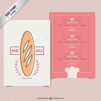 Cute bakery menu with a baguette drawing