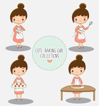 Cute baking girl cartoon character collection