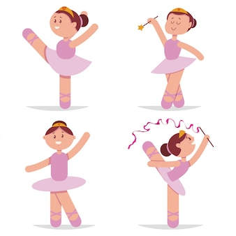 Cute ballerina dancing cartoon set.