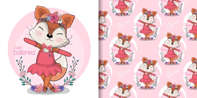 Cute ballerina fox illustration with seamless pattern