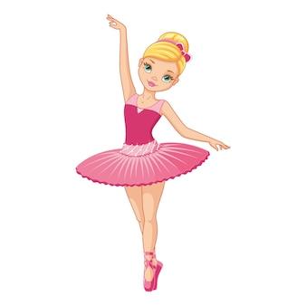 Милая балерина девушка в розовом платье танцует