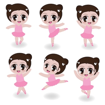 Cute ballerina girl in pink dress collection