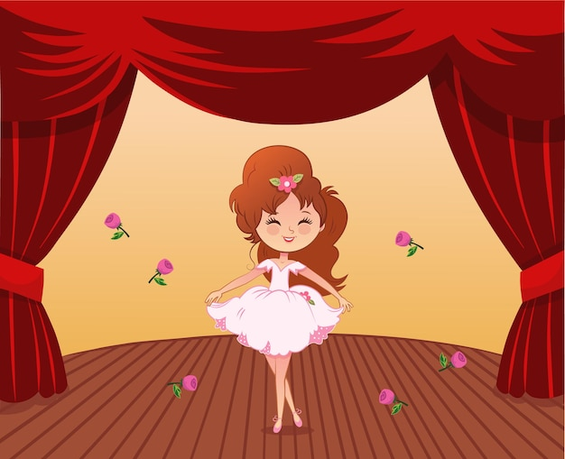 Cute ballerina and roses on stage vector illustration