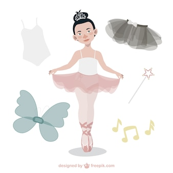 Cute ballet dancer with accessories