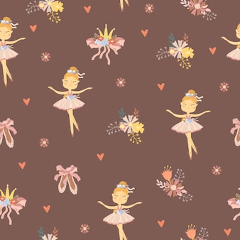 Cute ballet woman character seamless pattern
