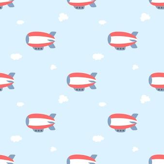 かわいい気球飛行機飛行船のシームレスなパターン