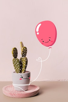 Cute balloon holding a happy cactus
