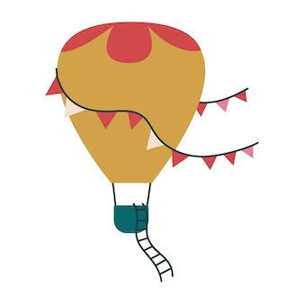 かわいい風船輸送黄土色。子供のためのベクトル印刷。空を飛ぶ。分離された子供のアートクリップアート。保育園のミニマリズムや赤ちゃんの子供のためのプリント