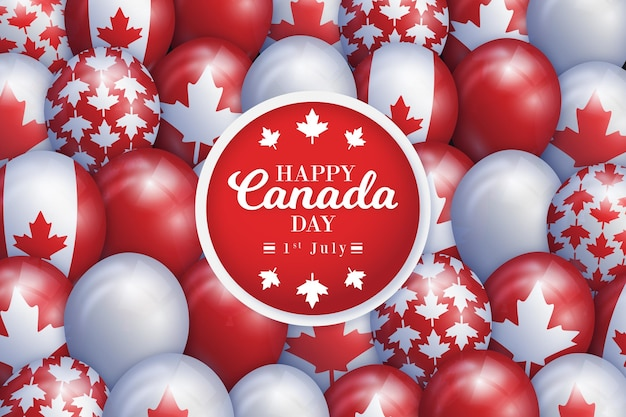 Cute balloons with maple leaf symbol of canada