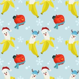 Симпатичные банан и яблоко носить рождественскую шляпу.