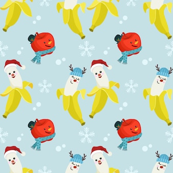 Cute banana and apple wear christmas hat.