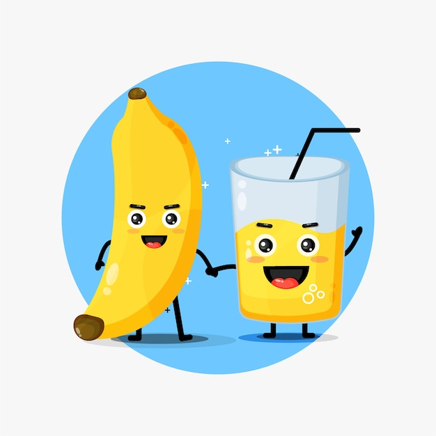 Cute banana and banana juice mascot holding hands
