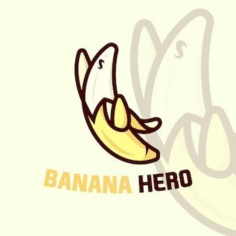 スーパーヒーローポーズのかわいいバナナの漫画のロゴ