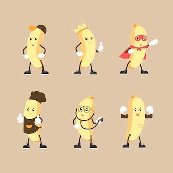 Cute banana character set in multiple expression