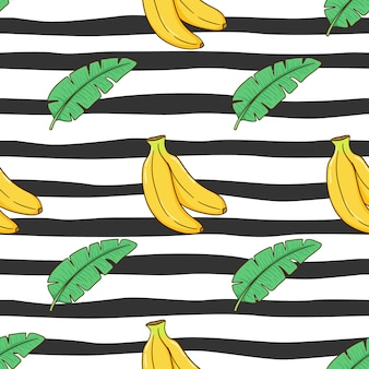 Cute banana and leaves in seamless pattern with colored doodle style