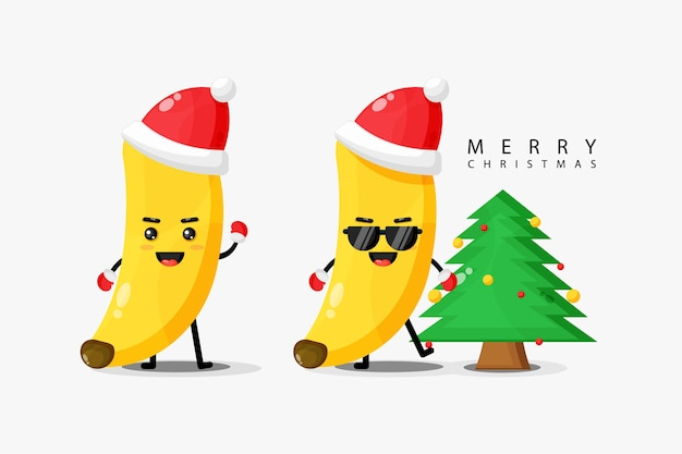 かわいいバナナのマスコットがクリスマスの日を祝う
