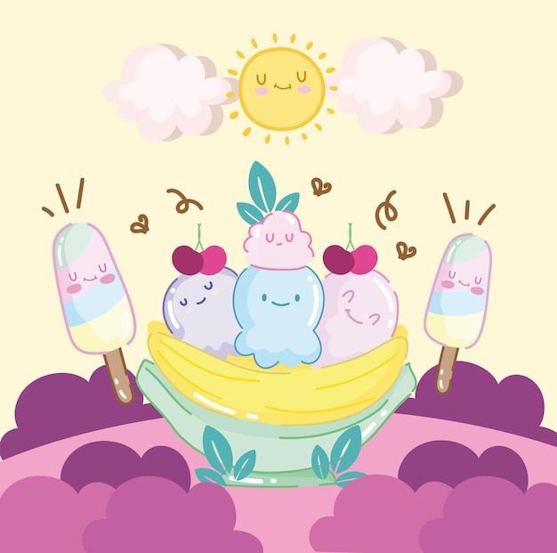 귀여운 바나나 스플릿