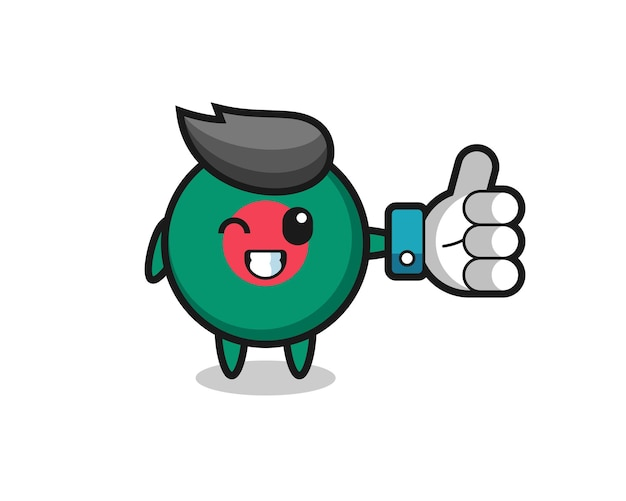 Cute bangladesh flag badge with social media thumbs up symbol , cute style design for t shirt, sticker, logo element