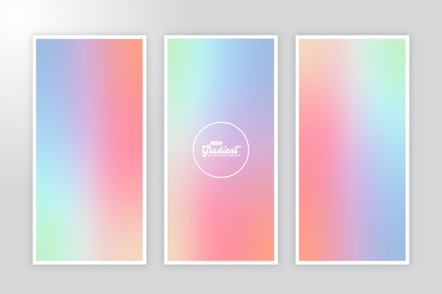 Cute banner gradient background template set