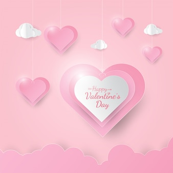 Cute banner with hanging hearts happy valentine's day