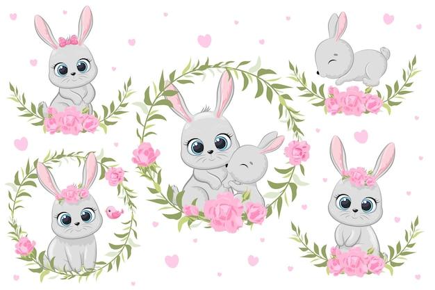 꽃과 화환이 있는 귀여운 배니. 만화 벡터 일러스트 레이 션. 도면 세트입니다.