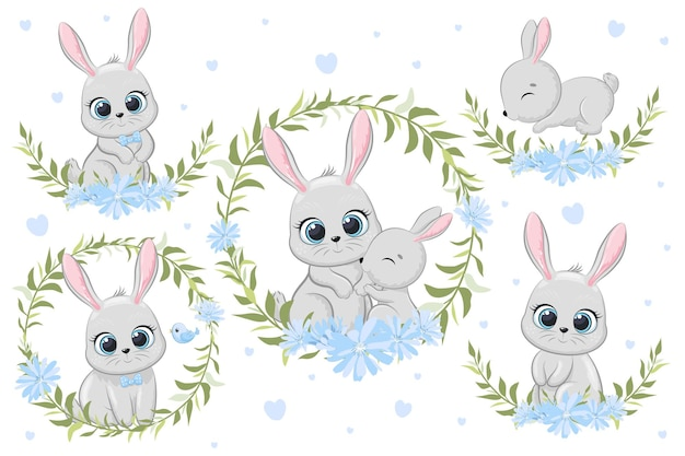 Cute banny with flowers and a wreath. cartoon vector illustration. a set of drawings.