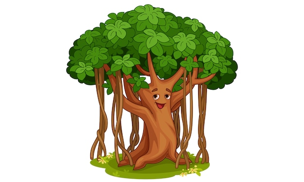 Cute banyan tree cartoon illustration