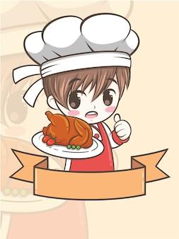 Симпатичный мальчик-повар-барбекю, держащий курицу-гриль - мультипликационный персонаж и иллюстрация логотипа