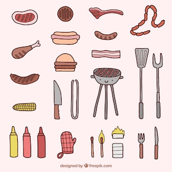 Cute barbecue elements