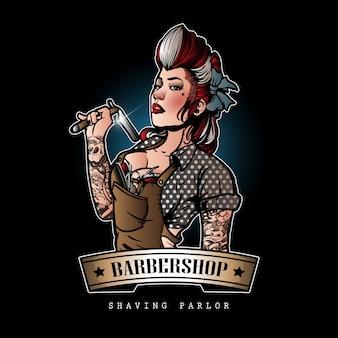 Cute barber girl logo