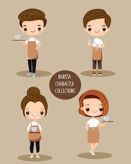 Cute barista cartoon character set
