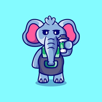 コーヒーを保持しているかわいいバリスタ象