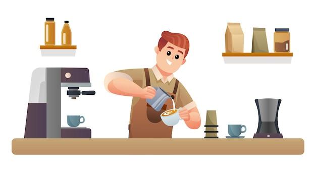 喫茶店カウンターイラストでコーヒーを作るかわいいバリスタ