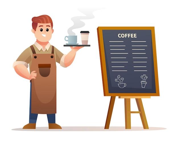 トレイのイラストとコーヒーを運んでいる間メニューボードの近くに立っているかわいいバリスタ