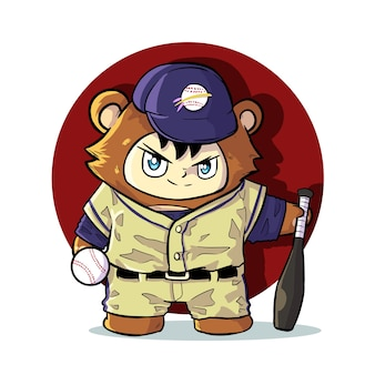 Cute baseball bear mascot illustration