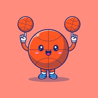 Симпатичные корзины мяч мультфильм значок иллюстрации. спорт иконка концепция изолированные. плоский мультяшный стиль