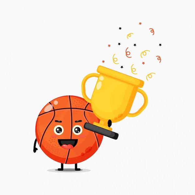 귀여운 농구 마스코트는 트로피를 리프트