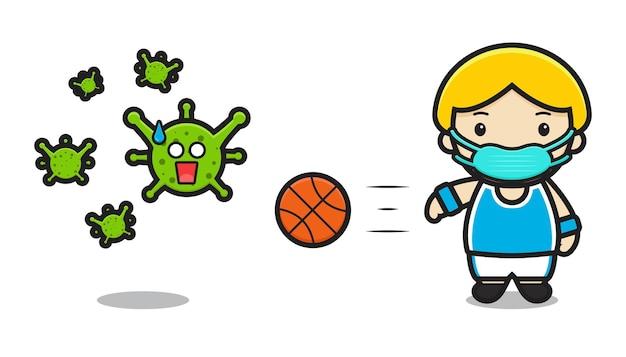 かわいいバスケットボール選手は、ウイルス漫画ベクトルアイコンイラストと戦う。白で隔離のデザイン。フラットな漫画のスタイル。