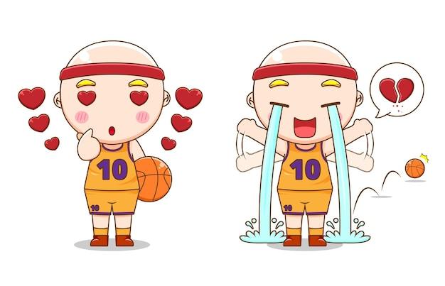다른 스타일으로 귀여운 농구 선수