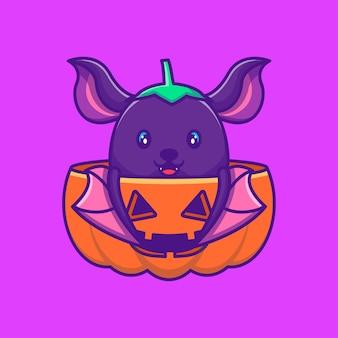 Милая летучая мышь и тыква счастливого хэллоуина с мультяшными иллюстрациями