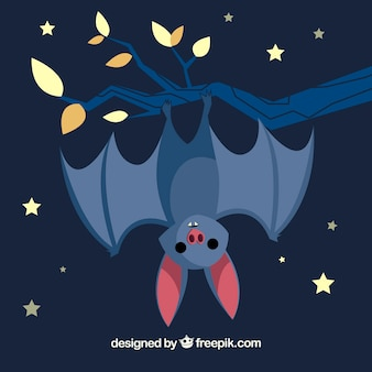 Cute bat background with a branch