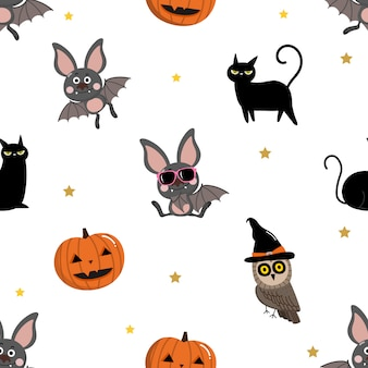 Cute bat, black cat, owl and pumpkin seamless pattern