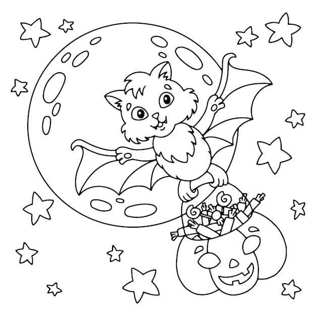 A cute bat carries a pumpkin basket with sweets halloween theme coloring book page for kids