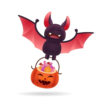 Cute bat carrying halloween pumpkin bucket of candy with isolated background