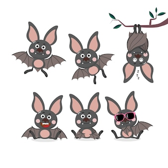 Cute bat cartoon character set.