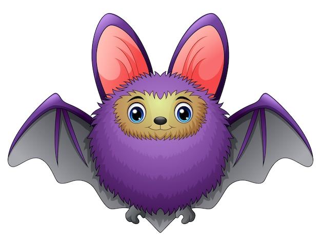 Cute bat cartoon flying