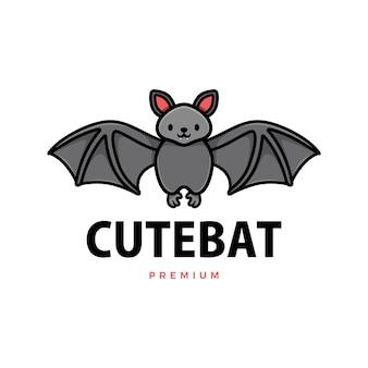 Cute bat cartoon logo  icon illustration