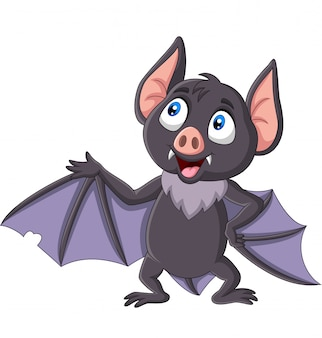 Cute bat cartoon waving isolated on white