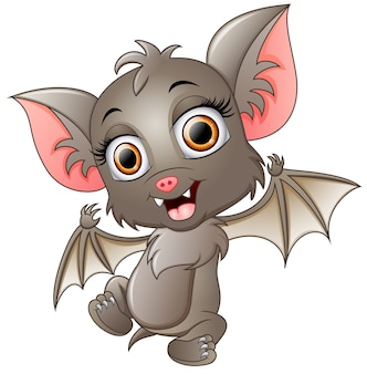 Cute bat cartoon waving